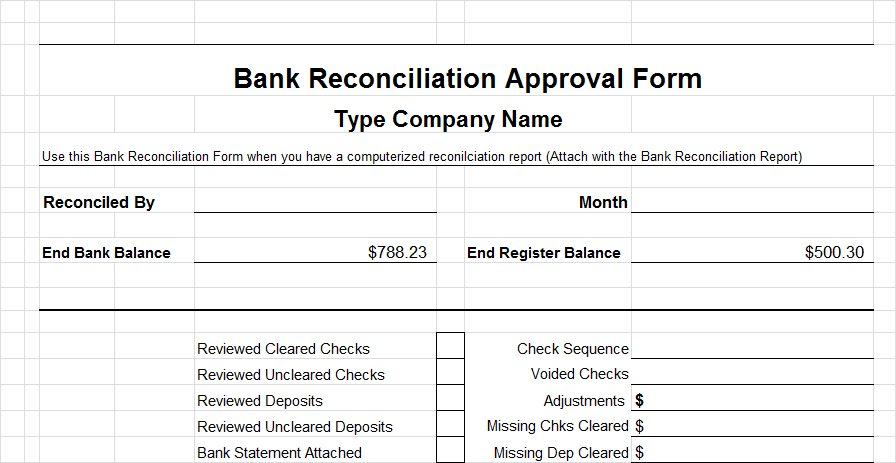 Bank Reconciliation Form  CityEsporaCo