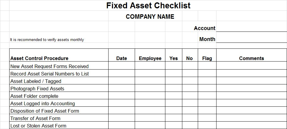 fixed assets reconciliation templates