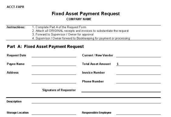 Fixed Asset Payment Request Form  Vitalics