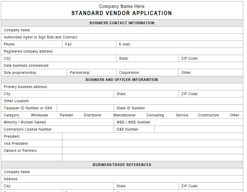 Vendor Credit Application  BesikEightyCo
