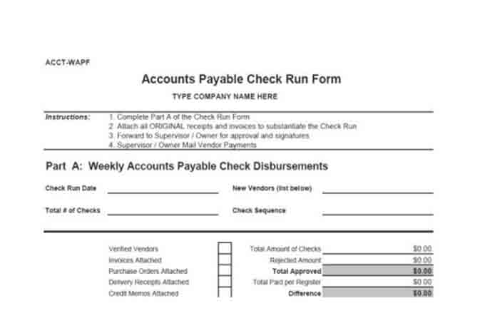 Accounts payable check run form