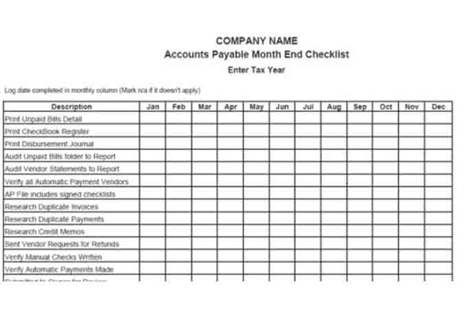 Accounts payable month end checklist 12 month