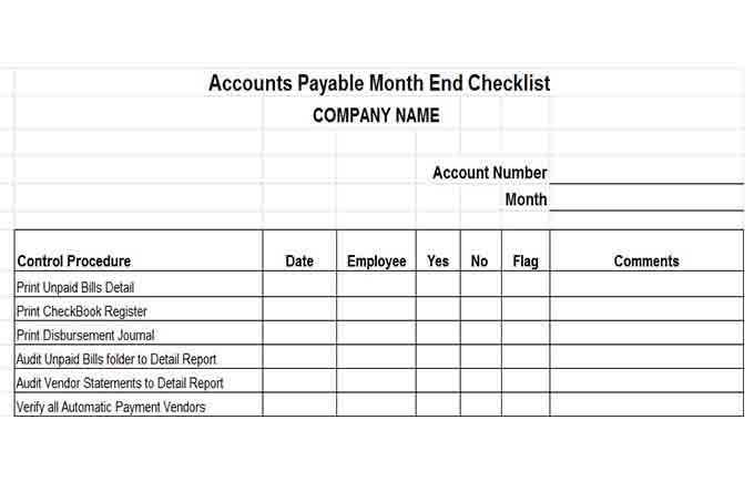 Accounts payable month end checklist