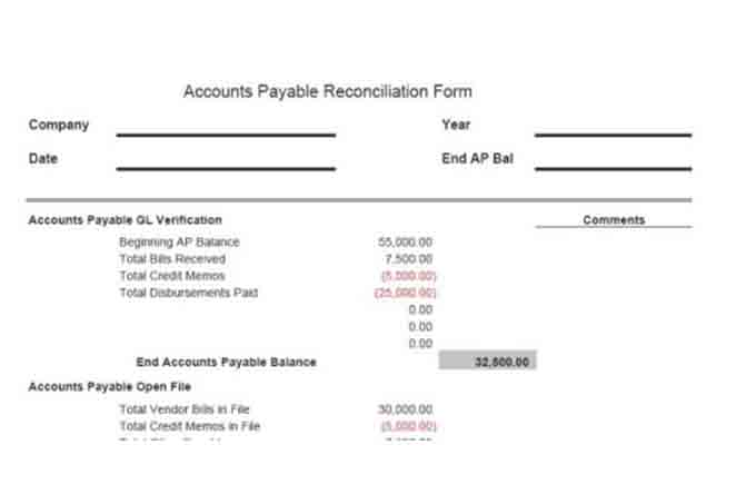Accounts payable reconciliation form