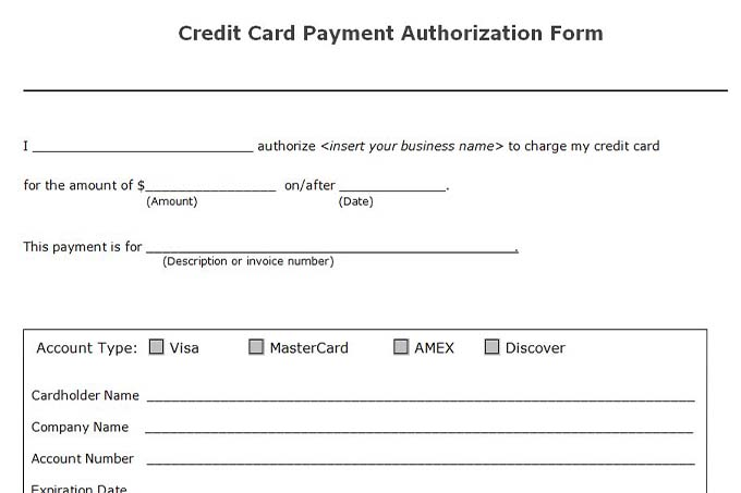 Accounts receivable controls vitalics for Credit card authorisation form template australia