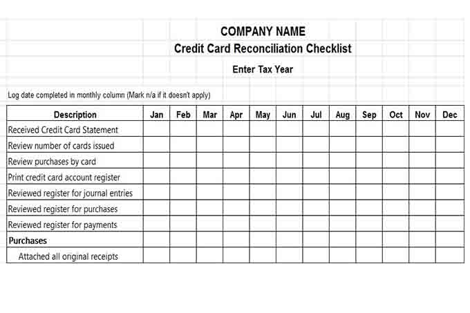 Credit card reconciliation checklist 12 month