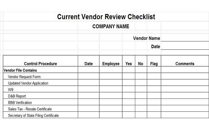 Current vendor review checklist