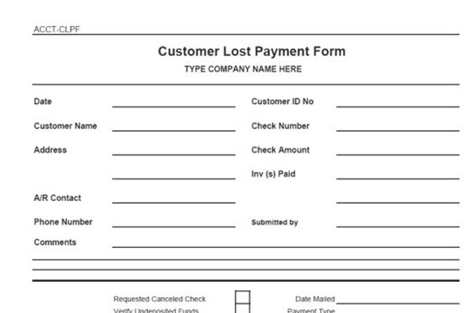 Customer lost payment form