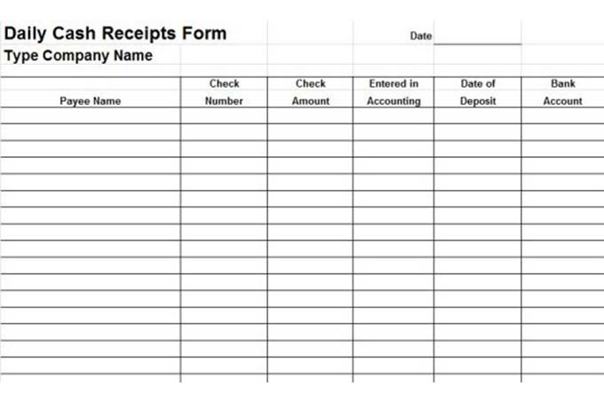 Daily cash receipts form