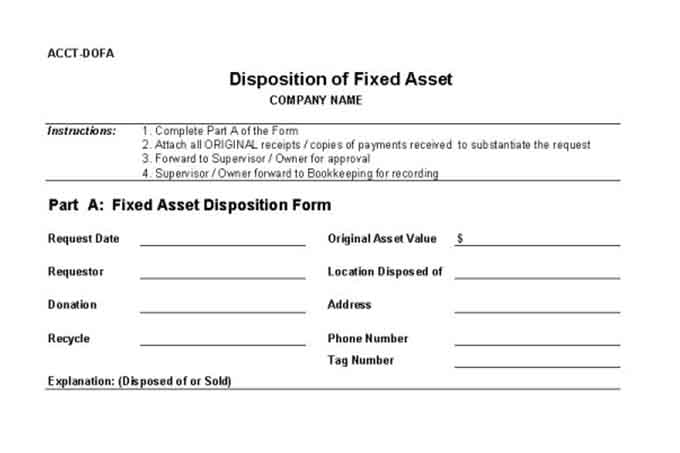 Disposition of fixed asset form