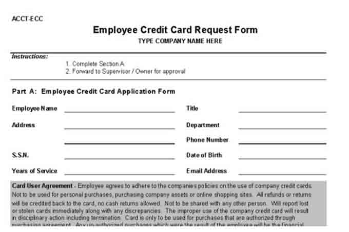 Employee credit card request form
