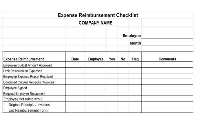 Expense reimbursement checklist