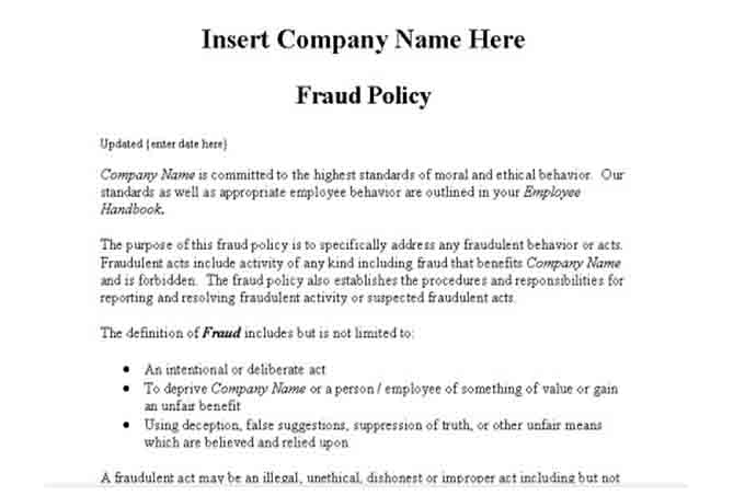 Fraud policy