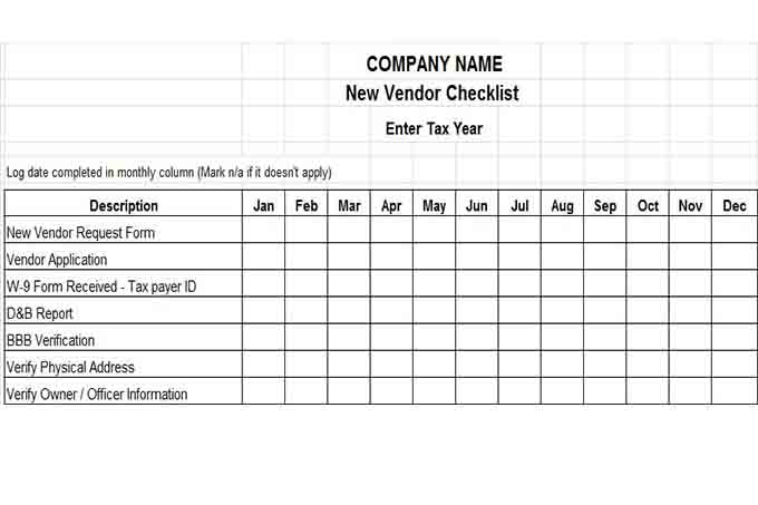 New vendor checklist 12 month