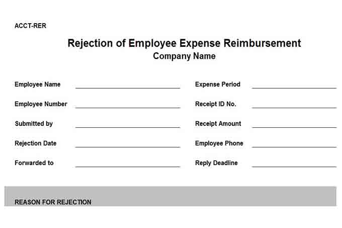 Rejection of expense reimbursement form