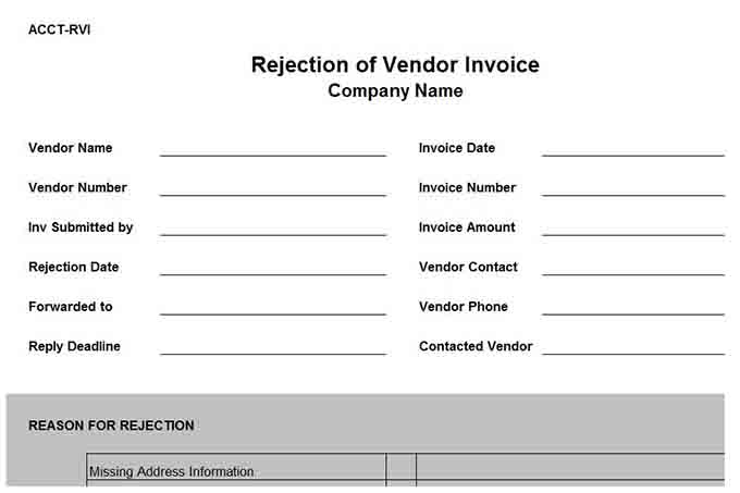 Rejection Of Vendor Invoice Form