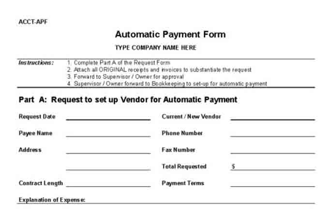 Internal Control Procedures for Small Business Checklist – Vendor Form Template