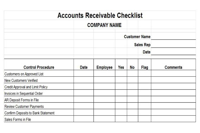 Accounts receivable checklist