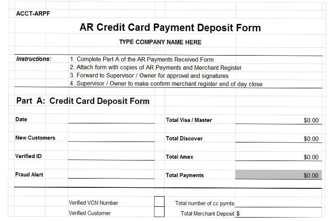 Accounts receivable credit card payment deposit form