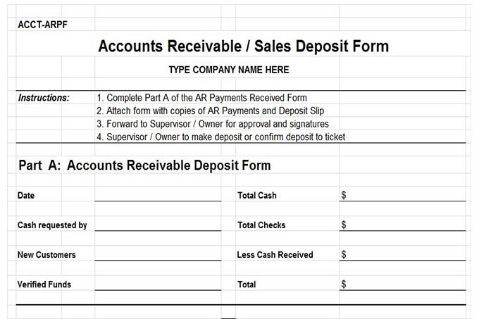 Accounts receivable deposit form