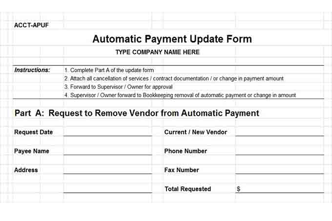 Automatic payment update form