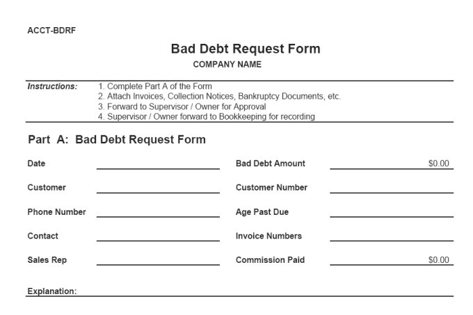 Bad debt request form