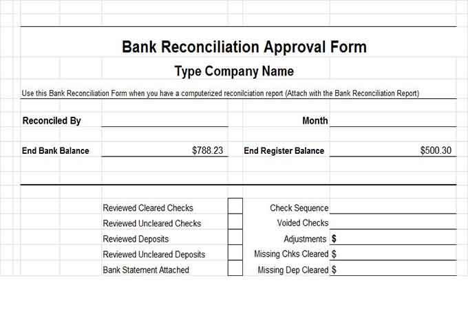 Bank reconciliation approval form