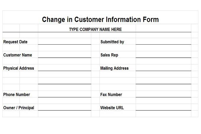 Change in customer information form