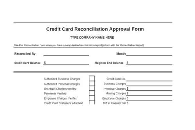 Credit card reconciliation approval form