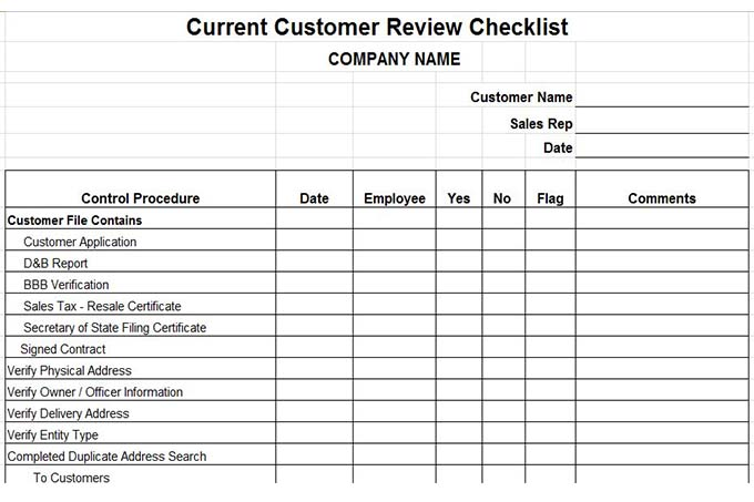 Current customer review checklist