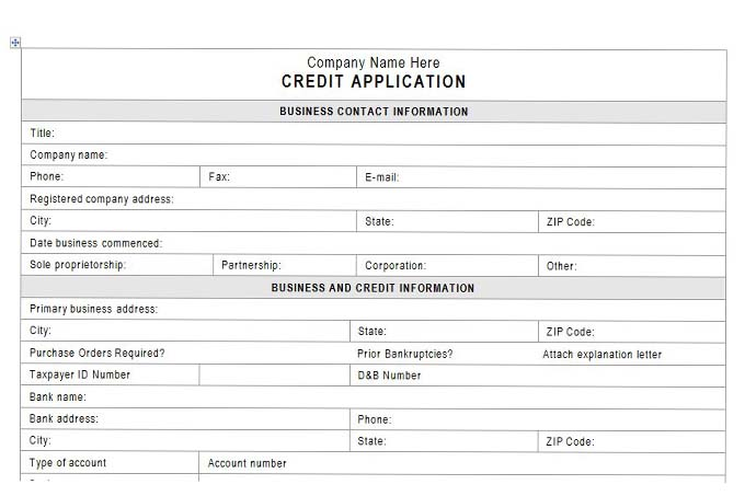 Customer credit application