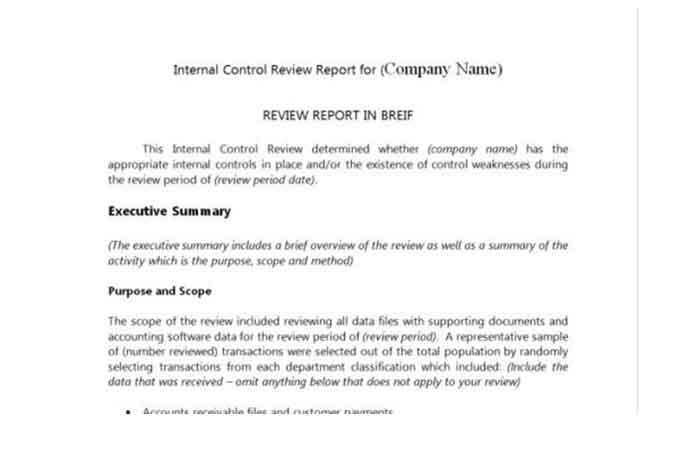 Internal control audit report template