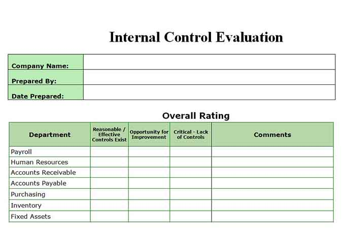 Internal control evaluation form