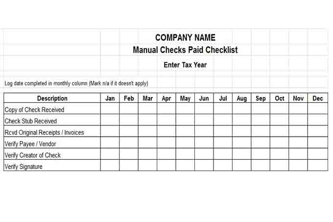 Manual check payment checklist 12 month