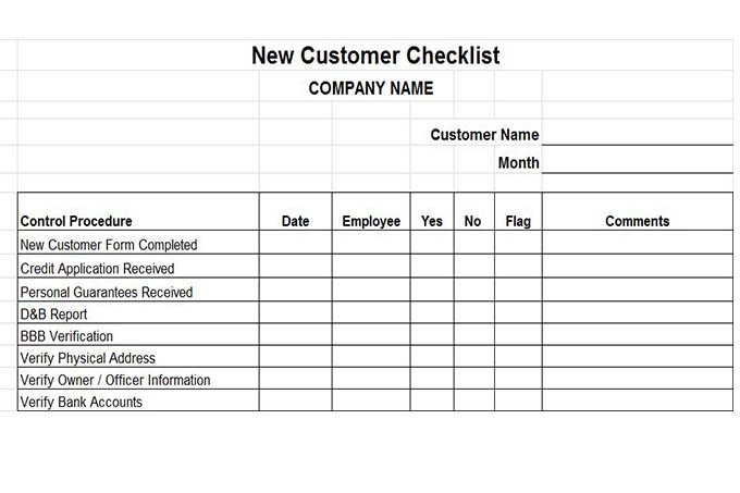 New customer checklist