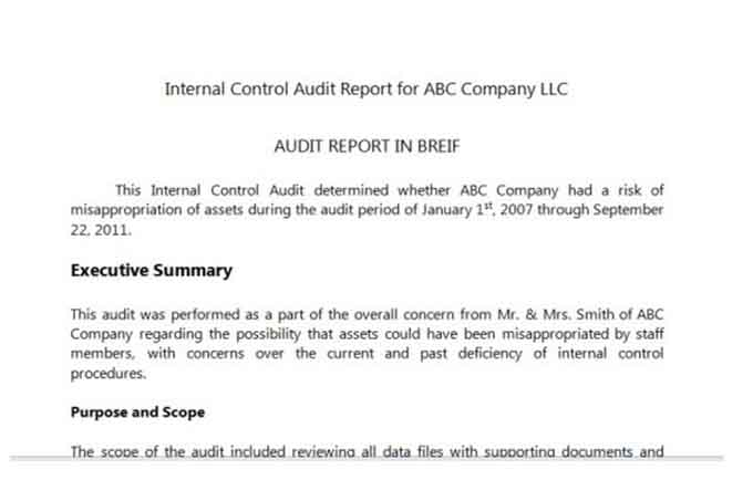 Sample internal control audit report ABC company